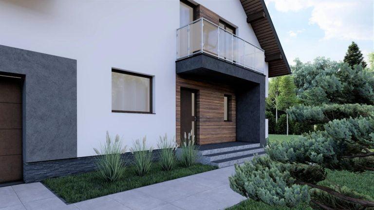 Nowoczesny dom wolnostojący wizualizacja proejkt
