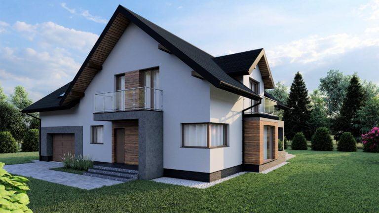 niewielki nowoczeny dom wizualizacja