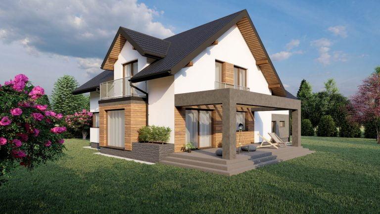 projekt małego domu wizualizacja